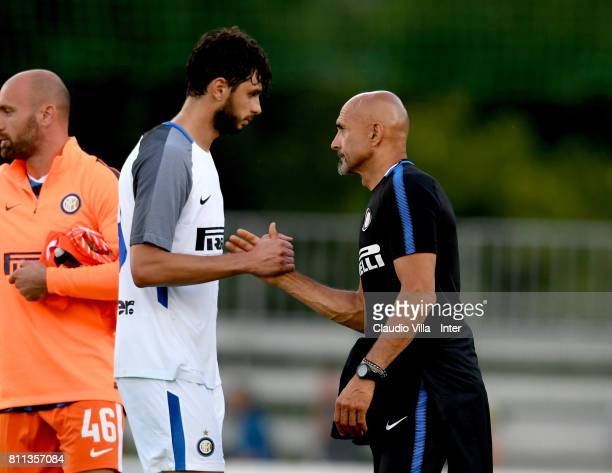 Head coach FC Internazionale Luciano Spalletti and Andrea Ranocchia of FC Internazionale at the end of the Preseason Friendly match between FC...