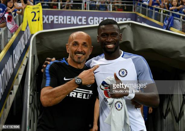 Head coach FC Internazionale Luciano Spalletti and Antonio Rüdiger of Chelsea chat prior to the International Champions Cup match between Chelsea FC...