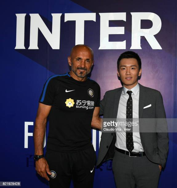 Head coach FC Internazionale Luciano Spalletti and FC Internazionale Milano board member Steven Zhang Kangyang pose at Suning Jiangsu Training Center...