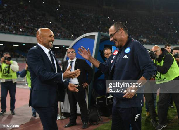 Head coach FC Internazionale Luciano Spalletti and head coach SSC Napoli Maurizio Sarri chat prior to the Serie A match between SSC Napoli and FC...
