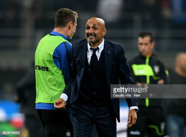 Head coach FC Internazionale Luciano Spalletti celebrates at the end of the Serie A match between FC Internazionale and AC Milan at Stadio Giuseppe...