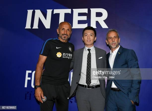 Head coach FC Internazionale Luciano Spalletti FC Internazionale Milano board member Steven Zhang Kangyang and Technogym Managing Director Cristian...