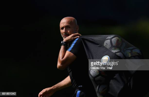 Head coach FC Internazionale Luciano Spalletti looks on during a training session at Suning Training Center at Appiano Gentile on August 15 2017 in...