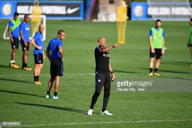 Head coach FC Internazionale Luciano Spalletti reacts during a training session at Suning Training Center at Appiano Gentile on August 15 2017 in...