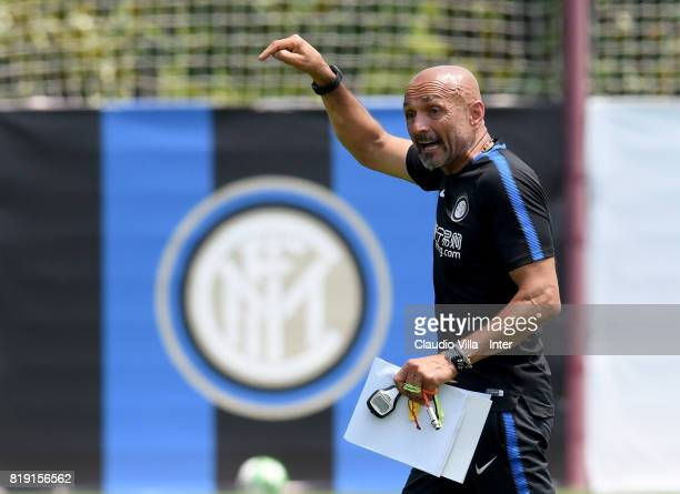 Head coach FC Internazionale Luciano Spalletti reacts during a FC Interazionale training session at Suning training center on July 20 2017 in Nanjing...