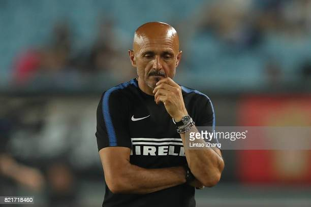 Head coach FC Internazionale Luciano Spalletti reacts during the 2017 International Champions Cup China match between Olympique Lyonnais and FC...