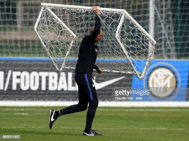 Head coach FC Internazionale Luciano Spalletti reacts during the training session at Suning Training Center at Appiano Gentile on October 19 2017 in...