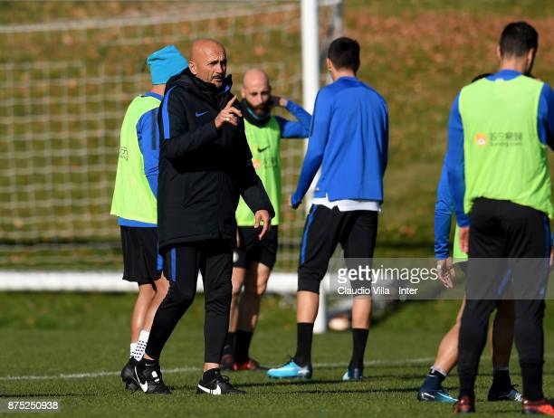 Head coach FC Internazionale Luciano Spalletti reacts during the FC Internazionale training session at Suning Training Center at Appiano Gentile on...
