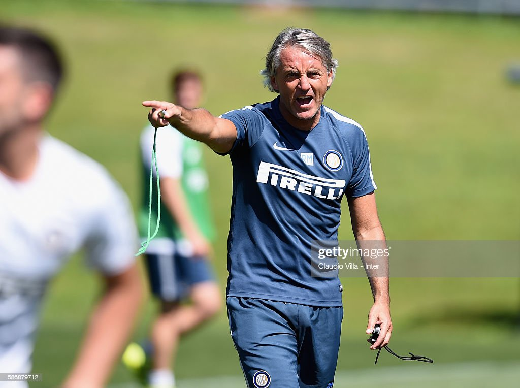 Head coach FC Internazionale Roberto Mancini reacts during a FC Internazionale training session on August 7, 2016 in Milan, Italy.