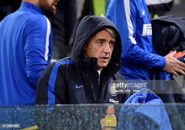 Head coach FC Internazionale Roberto Mancini reacts prior to the Serie A match between Juventus FC and FC Internazionale Milano at Juventus Arena on...