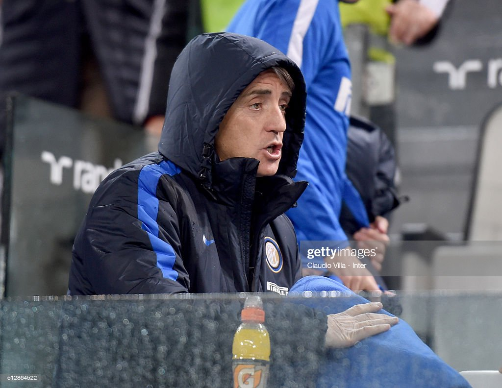 Head coach FC Internazionale Roberto Mancini reacts prior to the Serie A match between Juventus FC and FC Internazionale Milano at Juventus Arena on February 28, 2016 in Turin, Italy.