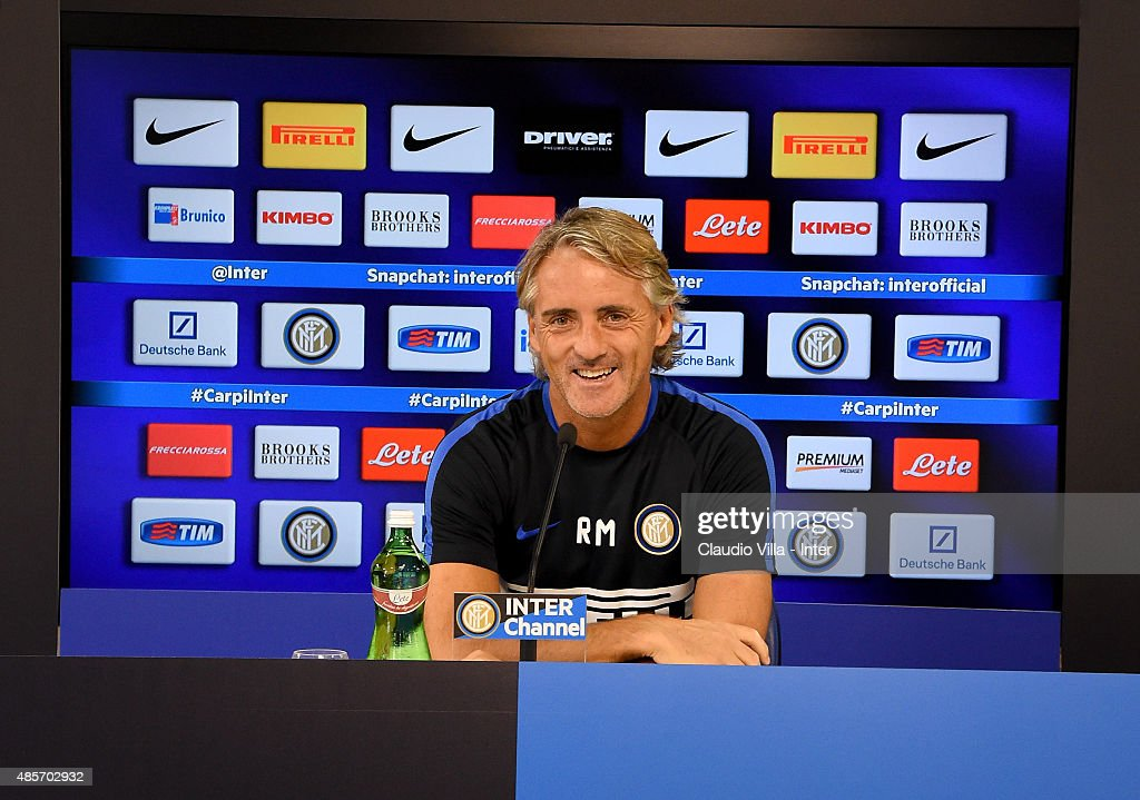 Head coach FC Internazionale Roberto Mancini speaks to the media during a press conference at the club's training ground at Appiano Gentile on August 29, 2015 in Como, Italy.