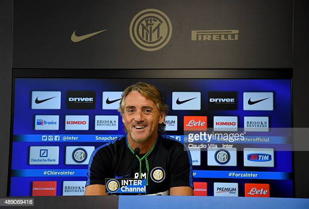 Head coach FC Internazionale Roberto Mancini speaks to the media during a press conference at Appiano Gentile on September 19 2015 in Como Italy