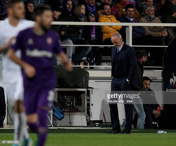 Head coach FC Internazionale Stefano Pioli dejected during the Serie A match between ACF Fiorentina v FC Internazionale at Stadio Artemio Franchi on...