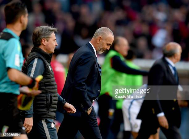Head coach FC Internazionale Stefano Pioli dejected during the Serie A match between Genoa CFC and FC Internazionale at Stadio Luigi Ferraris on May...