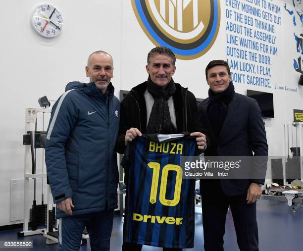 Head coach FC Internazionale Stefano Pioli head coach Argentina Edgardo Bauza and Vice President of FC Internazionale Milano pose for a photo at...