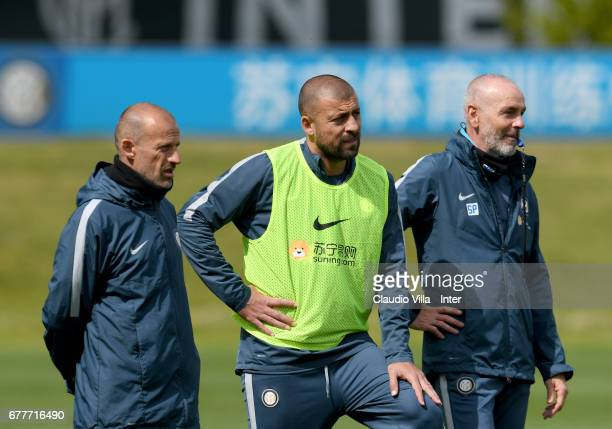 Head coach FC Internazionale Stefano Pioli looks on during FC Internazionale training session at Suning Training Center at Appiano Gentile on May 03...