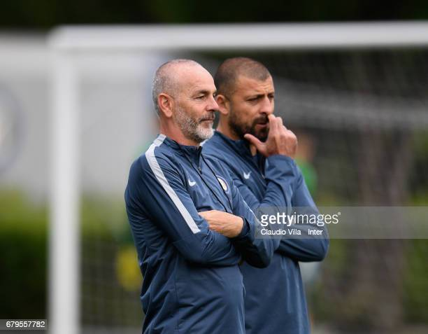 Head coach FC Internazionale Stefano Pioli looks on during FC Internazionale training session at Suning Training Center at Appiano Gentile on May 06...