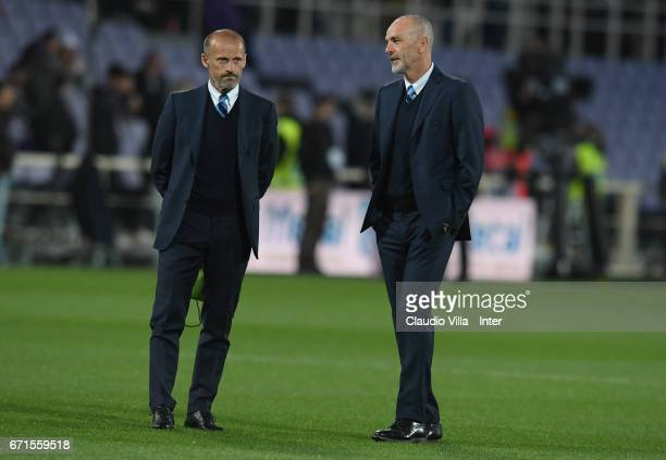 Head coach FC Internazionale Stefano Pioli looks on during warm up prior to the Serie A match between ACF Fiorentina v FC Internazionale at Stadio...