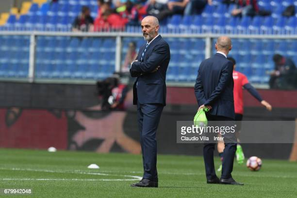 Head coach FC Internazionale Stefano Pioli looks on prior to the Serie A match between Genoa CFC and FC Internazionale at Stadio Luigi Ferraris on...