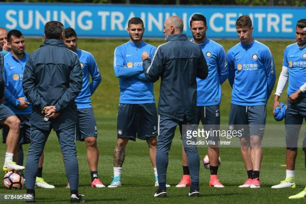 Head coach FC Internazionale Stefano Pioli reacts during FC Internazionale training session at Suning Training Center at Appiano Gentile on May 04...