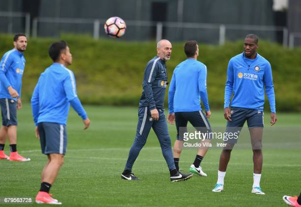 Head coach FC Internazionale Stefano Pioli reacts during FC Internazionale training session at Suning Training Center at Appiano Gentile on May 06...