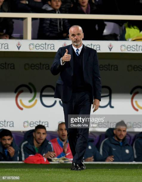 Head coach FC Internazionale Stefano Pioli reacts during the Serie A match between ACF Fiorentina v FC Internazionale at Stadio Artemio Franchi on...