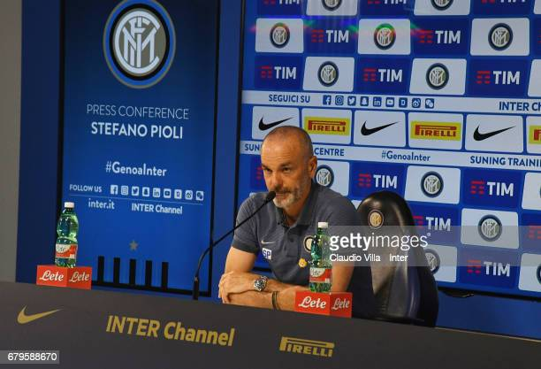 Head coach FC Internazionale Stefano Pioli speaks with the media during the press conference at Suning Training Center at Appiano Gentile on May 6...