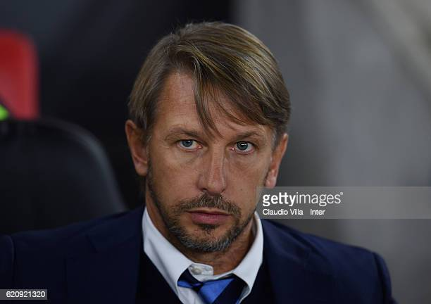 Head coach FC Internazionale Stefano Vecchi looks on prior to the UEFA Europa League match between Southampton FC and FC Internazionale Milano at St...