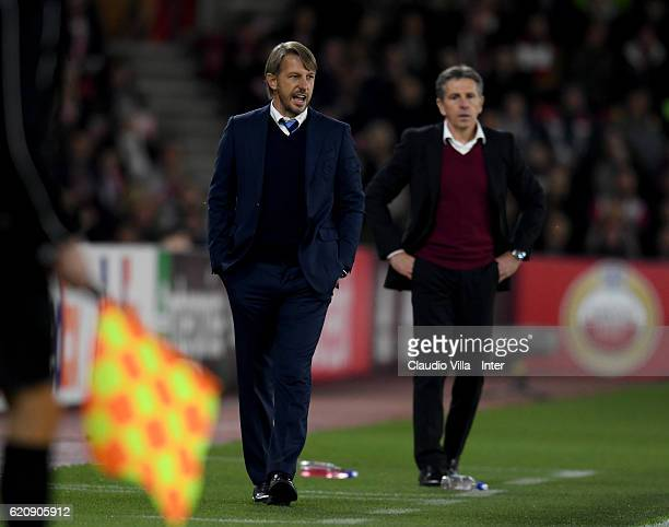 Head coach FC Internazionale Stefano Vecchi reacts during the UEFA Europa League match between Southampton FC and FC Internazionale Milano at St...