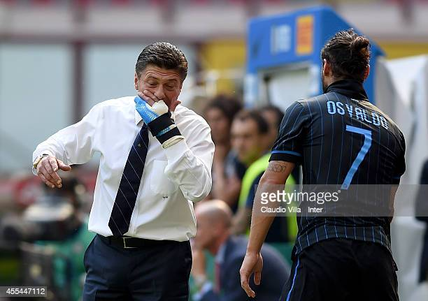 Head coach FC Internazionale Walter Mazzarri reacts during the Serie A match between FC Internazionale Milano and US Sassuolo Calcio at Stadio...
