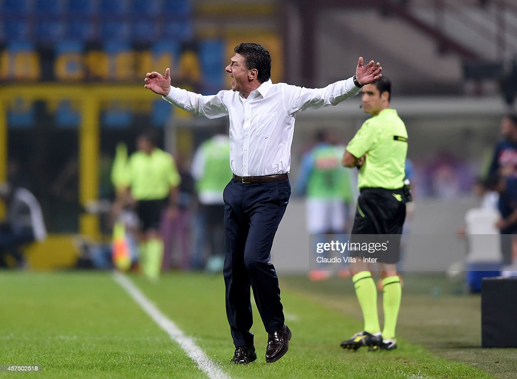 Head coach FC Internazionale <a gi-track='captionPersonalityLinkClicked' href=/galleries/search?phrase=Walter+Mazzarri&family=editorial&specificpeople=5314636 ng-click='$event.stopPropagation()'>Walter Mazzarri</a> reacts during the Serie A match between FC Internazionale Milano and SSC Napoli at Stadio Giuseppe Meazza on October 19, 2014 in Milan, Italy.