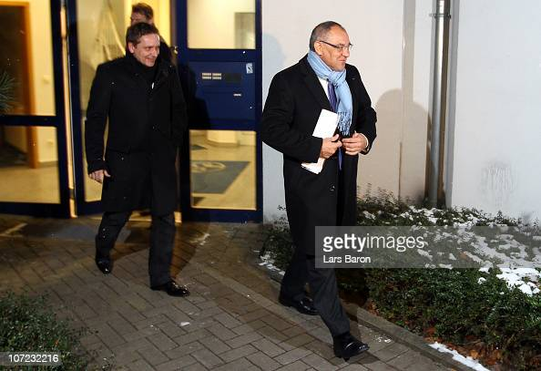 Head coach Felix Magath and manager Horst Heldt are seen after the board meeting after a FC Schalke 04 training session at Schalke 04 training ground...