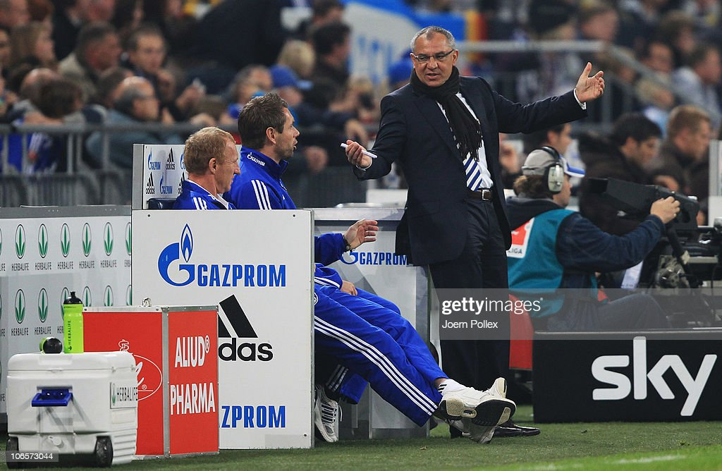 Head coach <a gi-track='captionPersonalityLinkClicked' href=/galleries/search?phrase=Felix+Magath&family=editorial&specificpeople=206318 ng-click='$event.stopPropagation()'>Felix Magath</a> of Schalke gestures during the Bundesliga match between FC Schalke 04 and FC St. Pauli at Veltins Arena on November 5, 2010 in Gelsenkirchen, Germany.