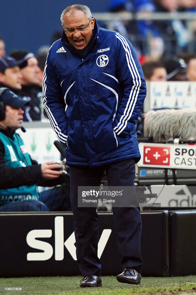 Head coach <a gi-track='captionPersonalityLinkClicked' href=/galleries/search?phrase=Felix+Magath&family=editorial&specificpeople=206318 ng-click='$event.stopPropagation()'>Felix Magath</a> of Schalke reacts during the Bundesliga match between FC Schalke 04 and 1899 Hoffenheim at Veltins Arena on January 29, 2011 in Gelsenkirchen, Germany.