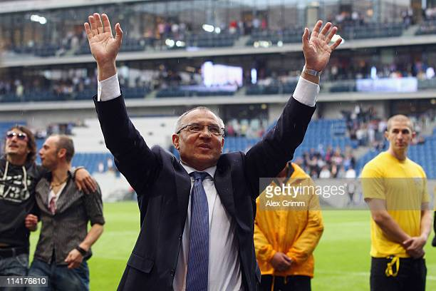 Head coach Felix Magath of Wolfsburg celebrates with supporters after the Bundesliga match between 1899 Hoffenheim and VfL Wolfsburg at RheinNeckar...