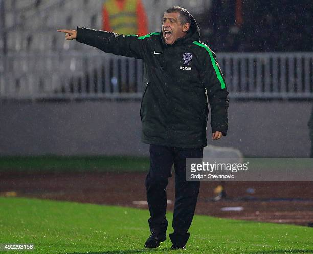 Head coach Fernando Santos of Portugal reacts during during the Euro 2016 qualifying football match between Serbia and Portugal at the Stadium FC...