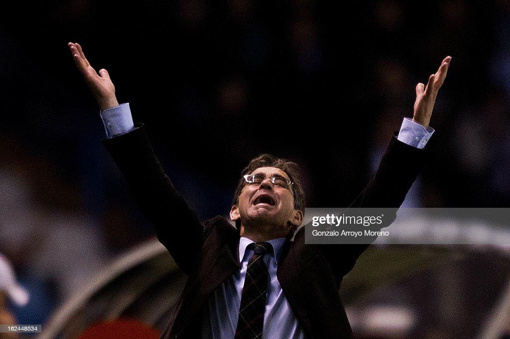 Head coach Fernando Vazquez of RC Deportivo La Coruna celebrates scoring their first goal during the La Liga match between RC Deportivo La Coruna and Real Madrid CF at Riazor Stadium on February 23, 2013 in La Coruna, Spain.