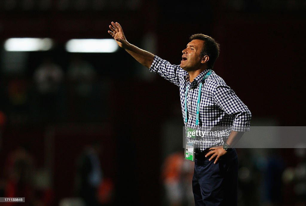 Head coach Feyyaz Ucar of Turkey gestures during the FIFA U-20 World Cup Group C match between Turkey and El Salvador at Huseyin Avni Aker Stadium on June 22, 2013 in Trabzon, Turkey.