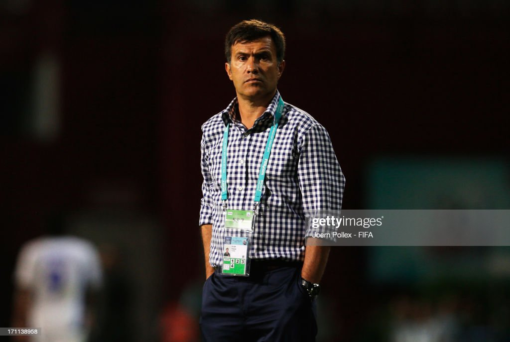 Head coach Feyyaz Ucar of Turkey looks on during the FIFA U-20 World Cup Group C match between Turkey and El Salvador at Huseyin Avni Aker Stadium on June 22, 2013 in Trabzon, Turkey.