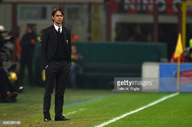 Head coach Filippo Inzaghi of Milan looks on during the Serie A match between AC Milan and US Citta di Palermo at Stadio Giuseppe Meazza on November...