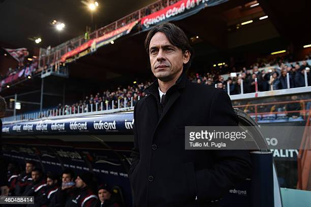 Head coach Filippo Inzaghi of Milan looks on during the Serie A match between Genoa CFC and AC Milan at Stadio Luigi Ferraris on December 7 2014 in...