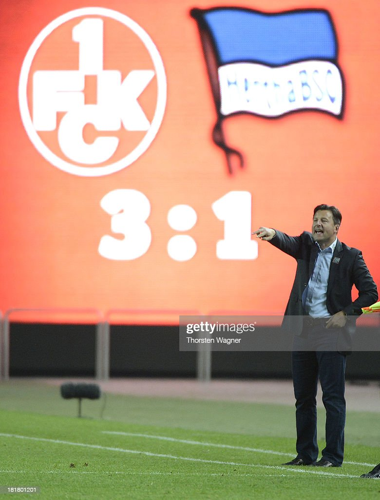 Head coach fKosta Runjaic of Kaiserslautern gestures after winning the DFB Cup 2nd round match between 1.FC Kaiserslautern and Hertha BSC Berlin at Fritz-Walter-Stadion on September 25, 2013 in Kaiserslautern, Germany.