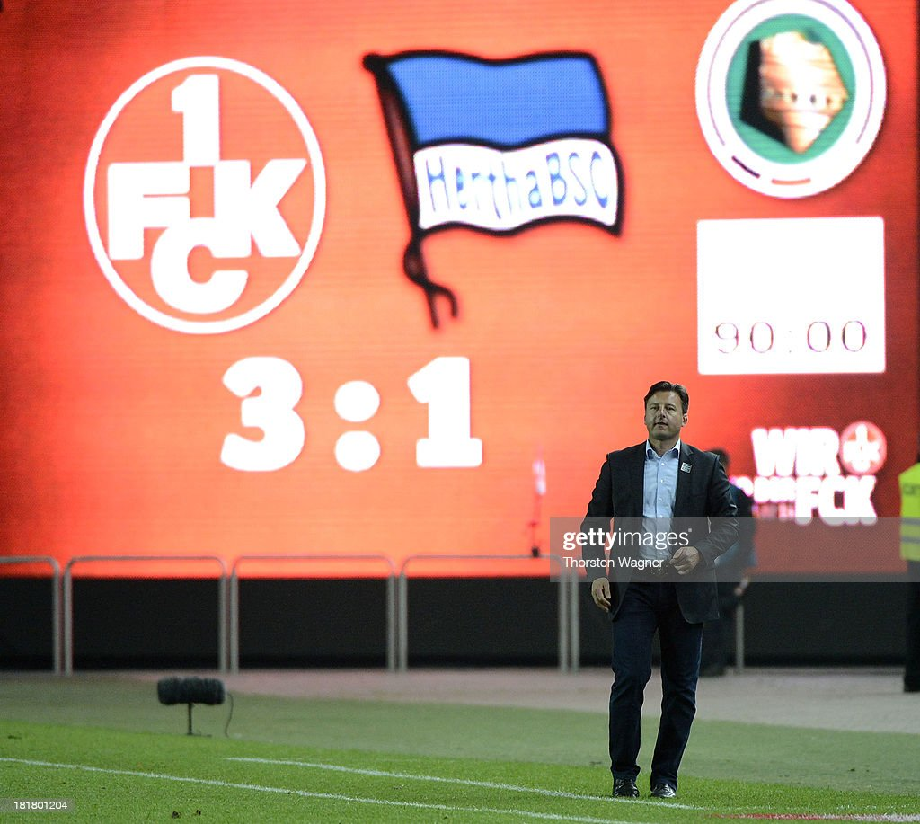 Head coach fKosta Runjaic of Kaiserslautern gestures after winning the DFB Cup 2nd round match between 1.FC Kaiserslautern and Hertha BSC Berlin at Fritz-Walter-Stadion on September 25, 2013 in Kaiserslautern, Germany.