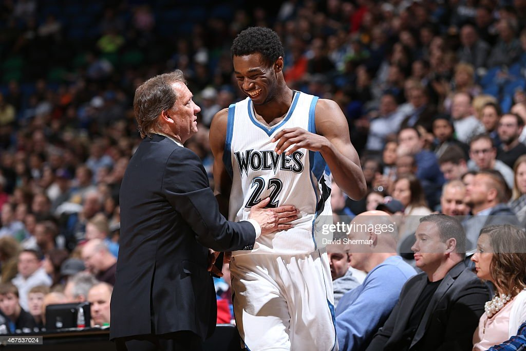 Head coach Flip Saunders and Andrew Wiggins of the Minnesota Timberwolves talk during the game against the Los Angeles Lakers on March 25 2015 at...