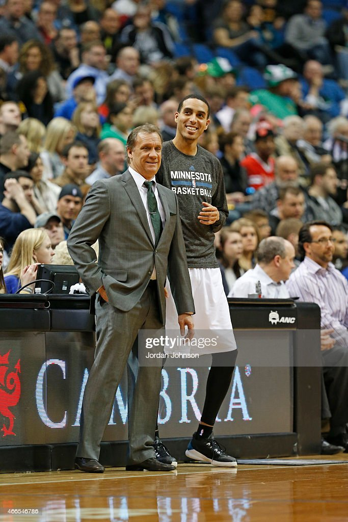 Head coach Flip Saunders and Kevin Martin of the Minnesota Timberwolves during the game against the Brooklyn Nets on March 16 2015 at Target Center...