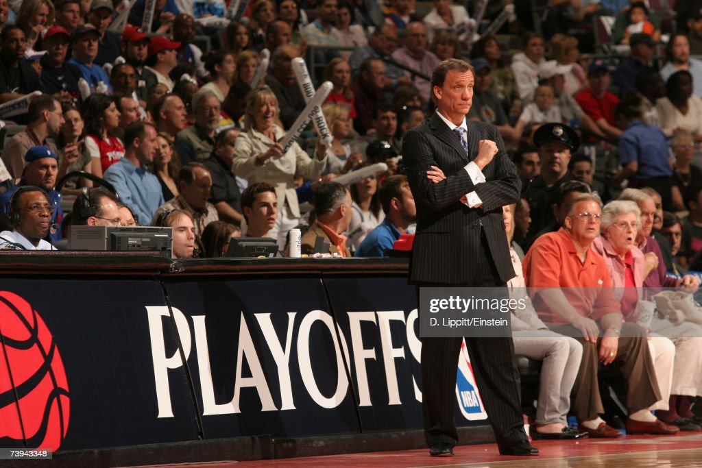 Head Coach Flip Saunders of the Detroit Pistons stands on the sidelines during the 2007 NBA Playoffs at the Palace of Auburn Hills April 21, 2007 in Auburn Hills, Michigan.