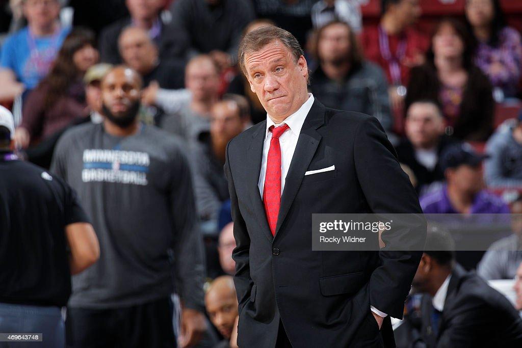 Head coach Flip Saunders of the Minnesota Timberwolves coaches against the Sacramento Kings on April 7 2015 at Sleep Train Arena in Sacramento...