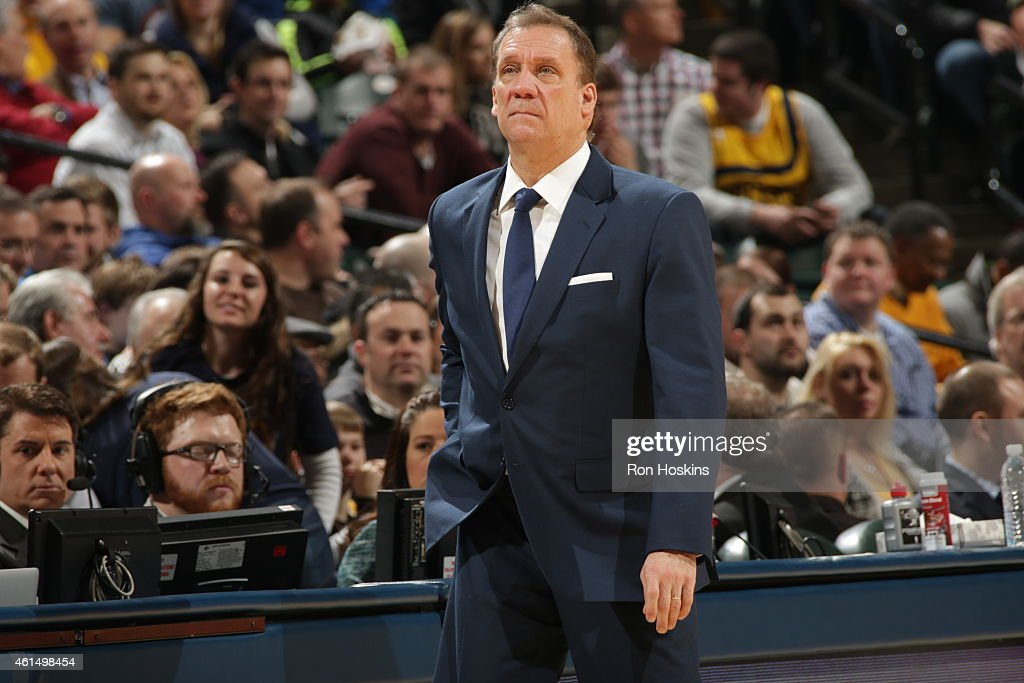Head coach Flip Saunders of the Minnesota Timberwolves during the game against the Indiana Pacers on January 13 2015 at Bankers Life Fieldhouse in...