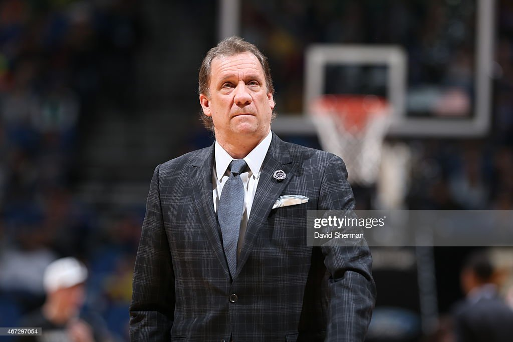 Head Coach Flip Saunders of the Minnesota Timberwolves during the game against the Charlotte Hornets on March 22 2015 at Target Center in Minneapolis...
